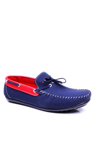 1016 Dark blue & red suede man's shoe