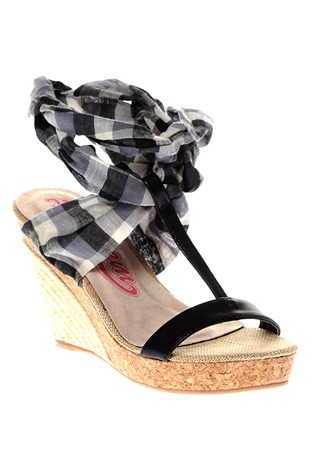 13y0666 Filled Sandals Black Women's Shoe