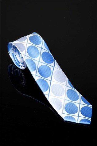 152-kp100190 Men's Blue and White Tie