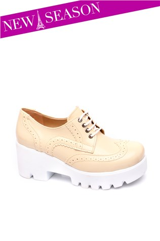 270-01-002z Beige Laced Women's Shoe
