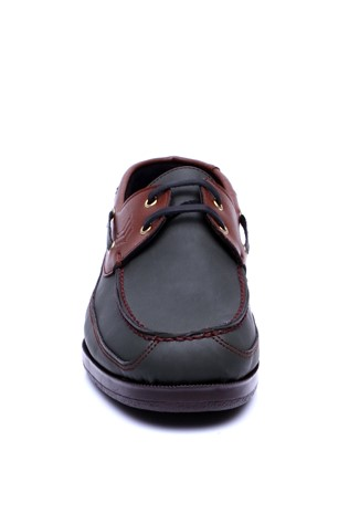 821 Dark green & brown man's shoe