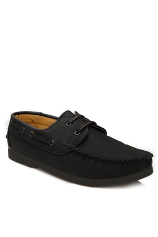 Black Leather Moccasins 2018113
