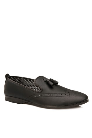 Black Leather Moccasins 2018168