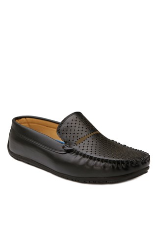 Black Leather Moccasins 201874