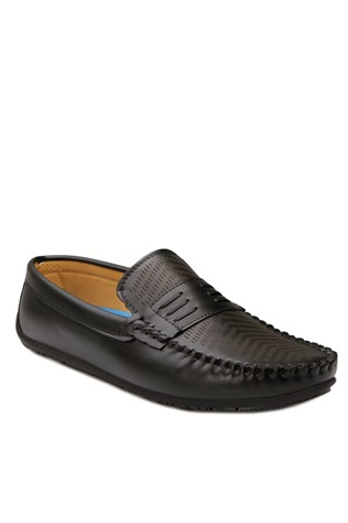 Black Leather Moccasins 201876