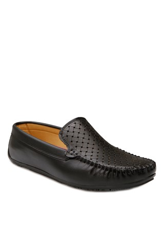 Black Leather Moccasins 201877