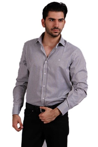 Damat 8h024516277 Gray Striped Shirt