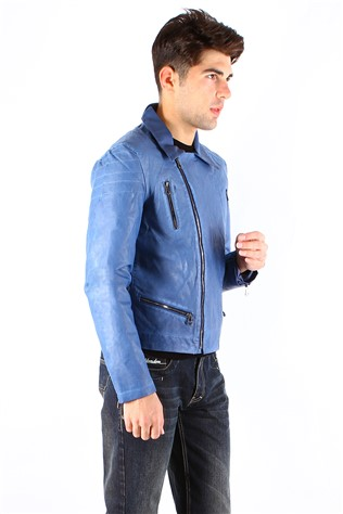 Maccali 4008 Blue Men's Leather Jacket
