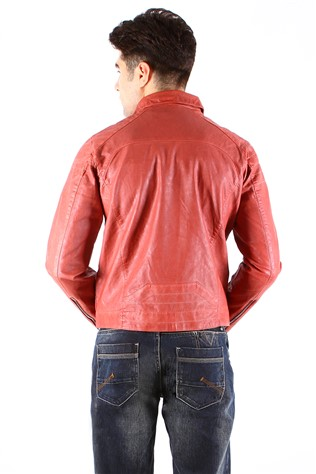 Maccali 4012 Red  Men's Leather Jacket