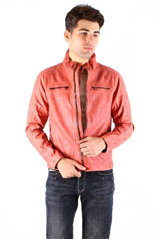 Maccali 4014 Orange Men's Leather Jacket