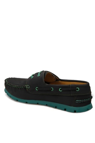 Dark - Green Leather Moccasins 2018115