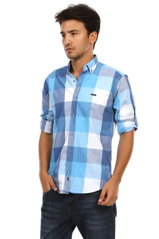 Davıd Ginola 12374 7-Turquoise-Blue Men's Shirt