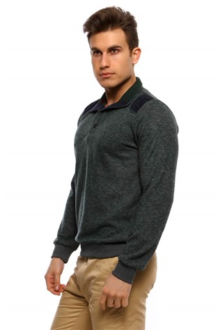 Duca Blanca D-2060  Men's Green Sweater