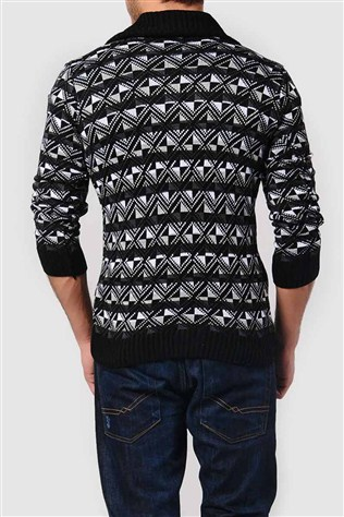 Fabbro 5300 Men's Black Patterned Sweater
