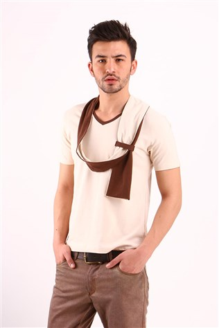 Freebull Fb - 1004-13 Beige Men's T-shirt