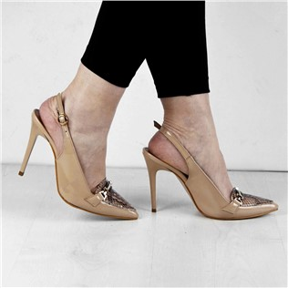 Thin Heel Pointed Toe Beige Women's PANTOFI