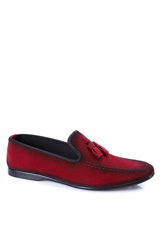Leather Men's shoes Red  2019142