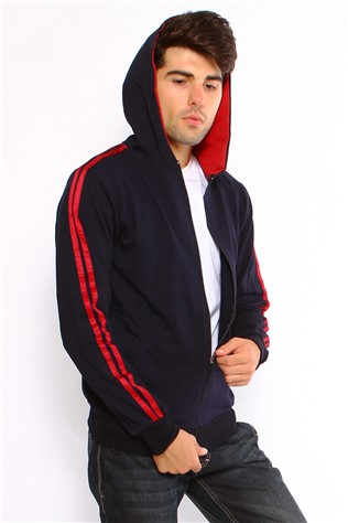 Maccali 2038 Men's Dark Blue and Red Sweatshirt