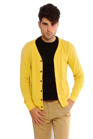 Maccali 2091 Men's Yellow Cardigan