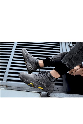 Men's Leather  Boots Dark Gray 202296