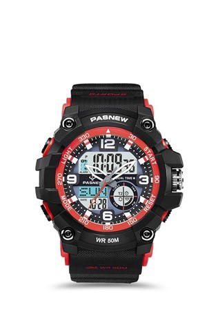 Men's watch Pasnew Black/Red PSE467-N3
