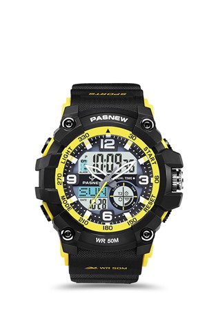 Men's watch Pasnew Black/Yellow PSE467-N2