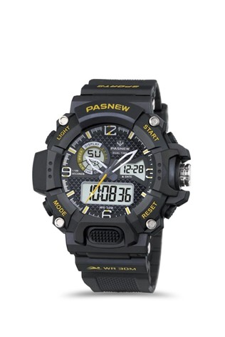 Men's watch Pasnew Black/Yellow PSE468-N2