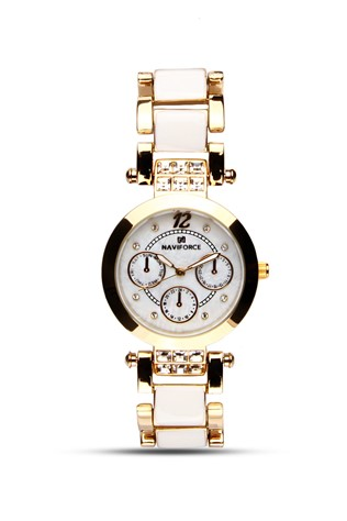 Naviforce Nv410 Gold & white lady's watch