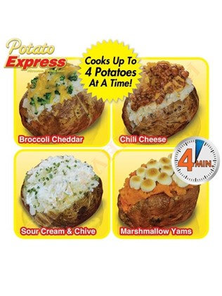 Potato Express delicious potatoes prepared on a microwave