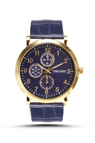 The End  4565 Dark blue man's watch